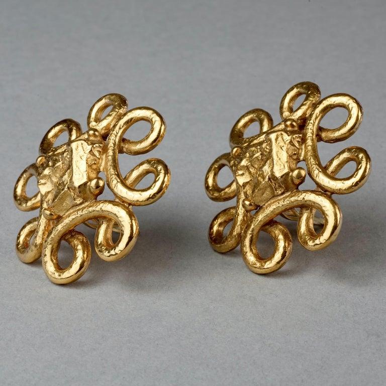 Vintage YVES SAINT LAURENT Ysl Nugget Loop Earrings For Sale 3