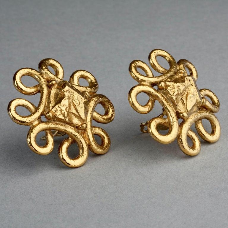 Vintage YVES SAINT LAURENT Ysl Nugget Loop Earrings For Sale 4