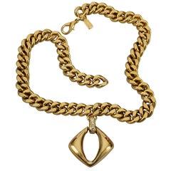 Vintage YVES SAINT LAURENT Ysl Openwork Diamond Chain Necklace