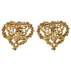 Vintage YVES SAINT LAURENT Ysl Openwork Flower Heart Earrings