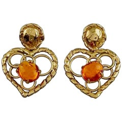 Vintage YVES SAINT LAURENT Ysl Openwork Heart Amber Resin Dangling Earrings