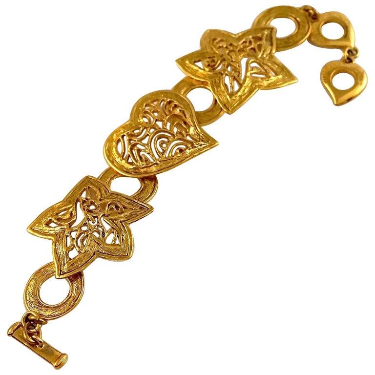 Vintage YVES SAINT LAURENT Ysl Openwork Heart Star Bracelet For Sale
