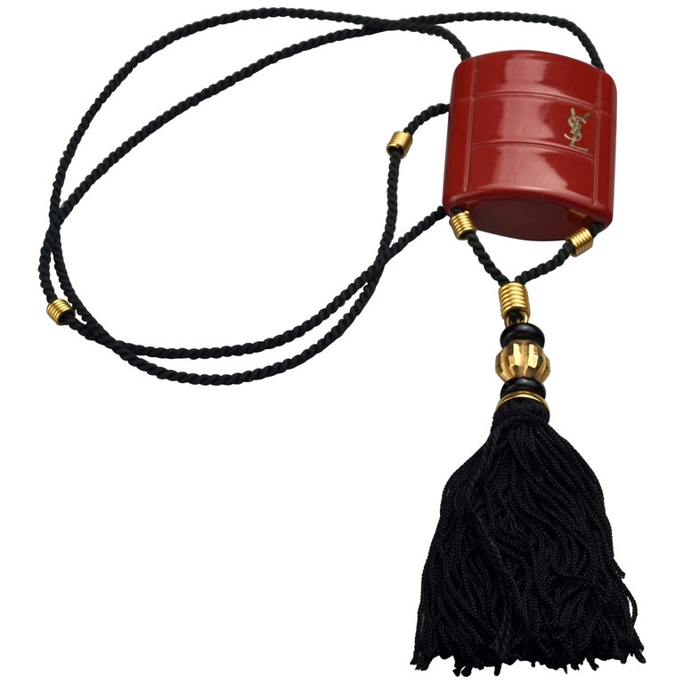 Vintage YVES SAINT LAURENT Ysl Opium Perfume Tassel Necklace For Sale