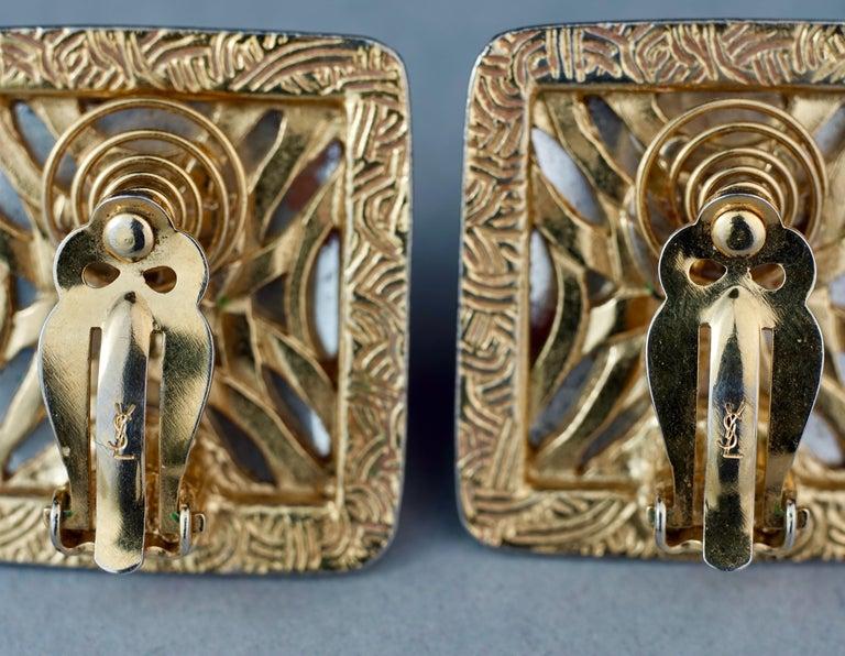 Vintage YVES SAINT LAURENT Ysl Orange Resin Rhinestone Earrings For Sale 6