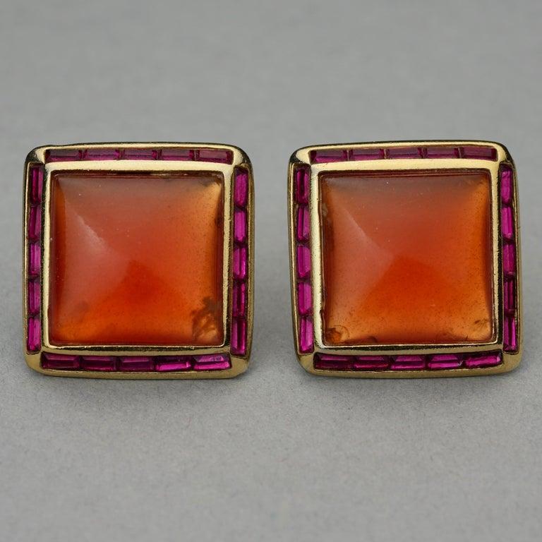 Vintage YVES SAINT LAURENT Ysl Orange Resin Rhinestone Earrings In Good Condition For Sale In Kingersheim, Alsace
