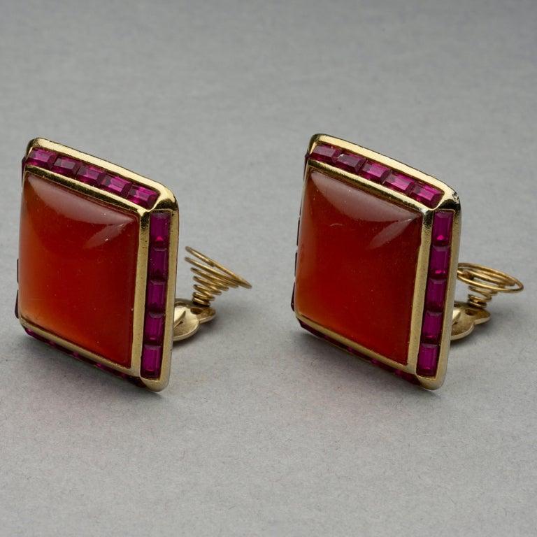 Women's Vintage YVES SAINT LAURENT Ysl Orange Resin Rhinestone Earrings For Sale
