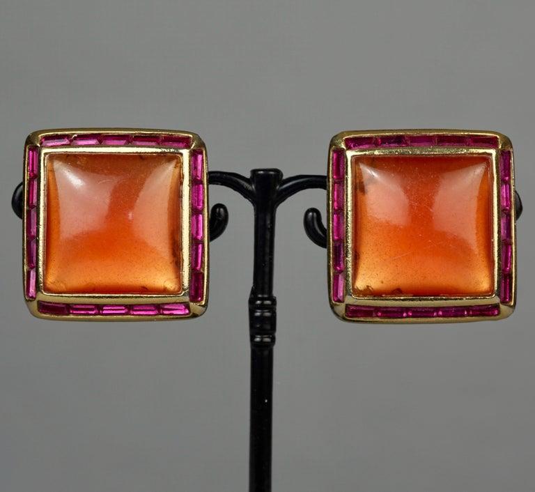 Vintage YVES SAINT LAURENT Ysl Orange Resin Rhinestone Earrings For Sale 1