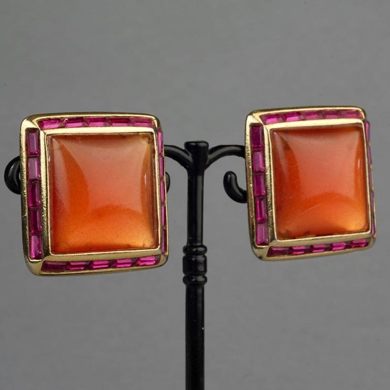 Vintage YVES SAINT LAURENT Ysl Orange Resin Rhinestone Earrings For Sale 2