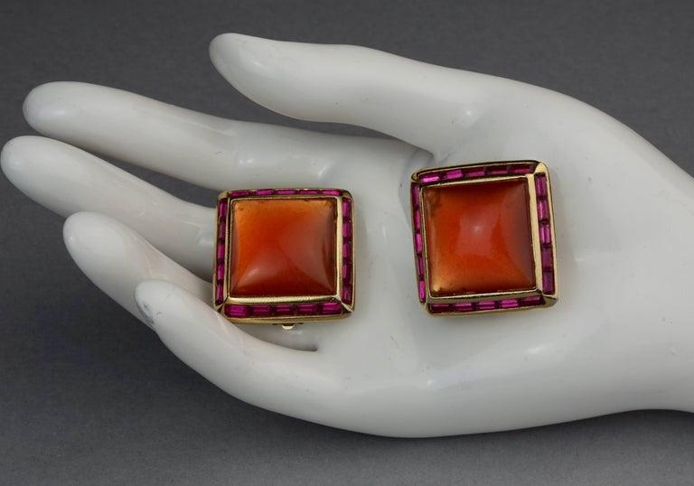 Vintage YVES SAINT LAURENT Ysl Orange Resin Rhinestone Earrings For Sale 4