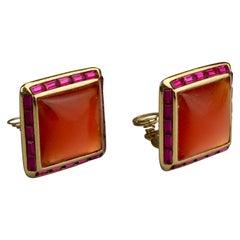 Vintage YVES SAINT LAURENT Ysl Orange Resin Rhinestone Earrings