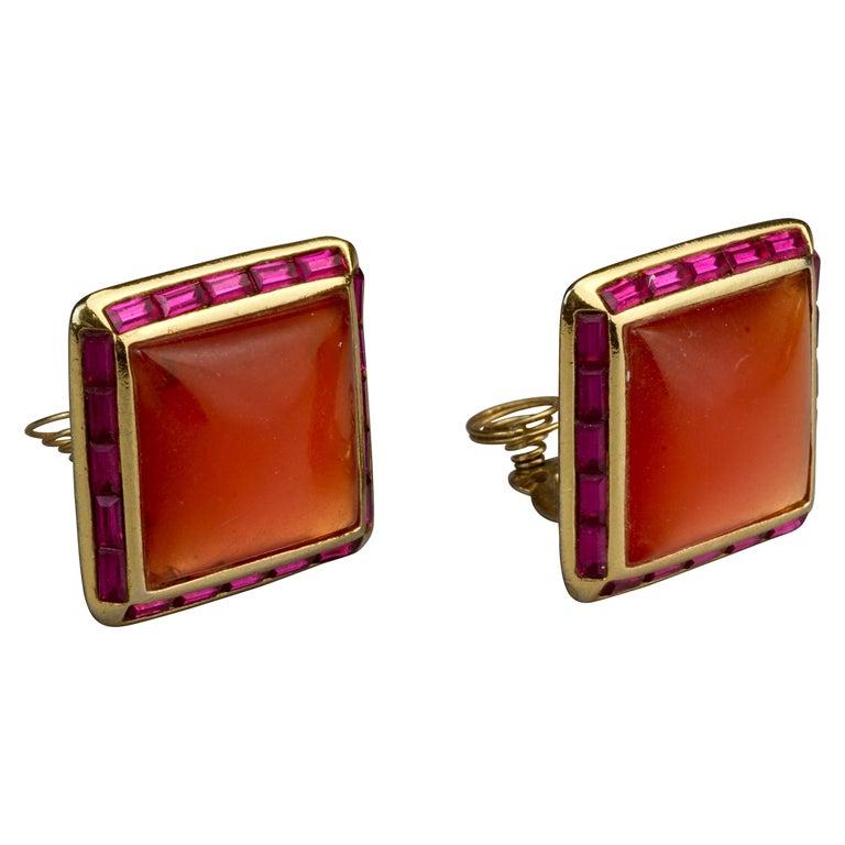 Vintage YVES SAINT LAURENT Ysl Orange Resin Rhinestone Earrings For Sale