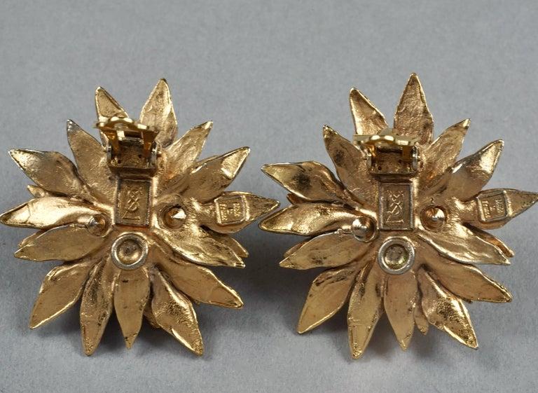 Vintage YVES SAINT LAURENT Ysl Pearl Flower Earrings For Sale 6