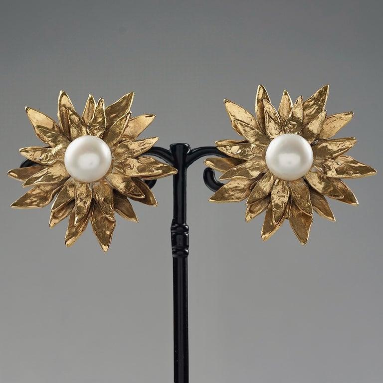 Vintage YVES SAINT LAURENT Ysl Pearl Flower Earrings For Sale 1
