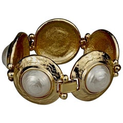 Vintage YVES SAINT LAURENT Ysl Pearl Textured Disc Bracelet