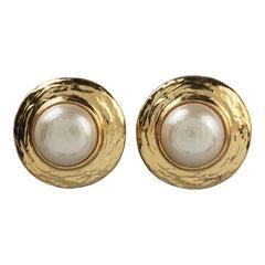 Vintage YVES SAINT LAURENT Ysl Pearl Textured Disc Earrings