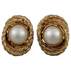 Vintage YVES SAINT LAURENT Ysl Pearl Textured Earrings