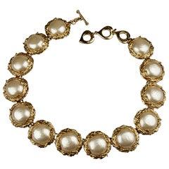 Vintage YVES SAINT LAURENT Ysl Pearl Wreath Link Choker Necklace