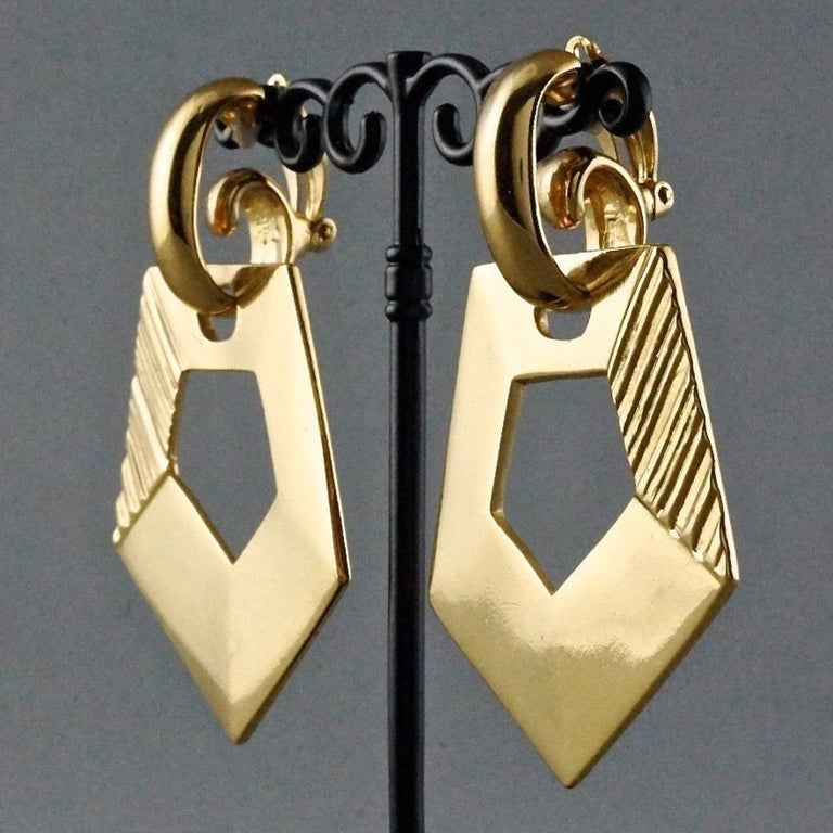 Vintage YVES SAINT LAURENT Ysl Pentagon Geometric Textured Drop Earrings For Sale 1