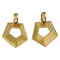 Vintage YVES SAINT LAURENT Ysl Pentagon Geometric Textured Drop Earrings