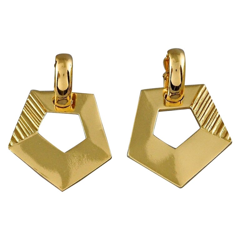 Vintage YVES SAINT LAURENT Ysl Pentagon Geometric Textured Drop Earrings For Sale