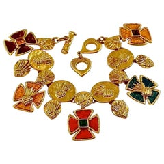 Vintage YVES SAINT LAURENT Ysl Pineapple Maltese Cross Enamel Bracelet