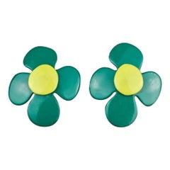 Vintage YVES SAINT LAURENT Ysl Pop Art Flower Enamel Earrings