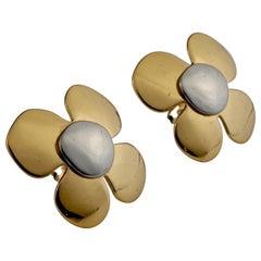 Vintage YVES SAINT LAURENT Ysl Poppy Flower Two Tone Earrings