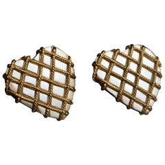 Vintage YVES SAINT LAURENT Ysl Quilted Heart Earrings