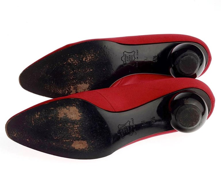 Vintage YVES SAINT LAURENT Ysl Red Ball Heel Pumps Lace Up Shoes For Sale 5