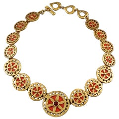 Vintage YVES SAINT LAURENT Ysl Red Enamel Wheel Disc Cabochon Necklace