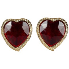 Vintage YVES SAINT LAURENT Ysl Red Faceted Heart Rhinestone Earrings