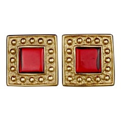 Vintage YVES SAINT LAURENT Ysl Red Square Studded Earrings