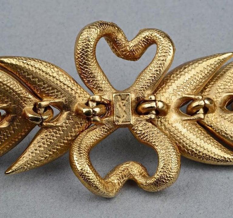 Vintage YVES SAINT LAURENT Ysl Rhinestone Bow Leaf Bracelet For Sale 6