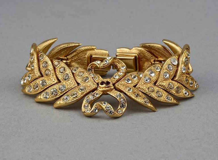 Vintage YVES SAINT LAURENT Ysl Rhinestone Bow Leaf Bracelet In Excellent Condition For Sale In Kingersheim, Alsace