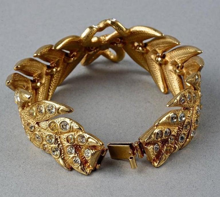 Women's Vintage YVES SAINT LAURENT Ysl Rhinestone Bow Leaf Bracelet For Sale