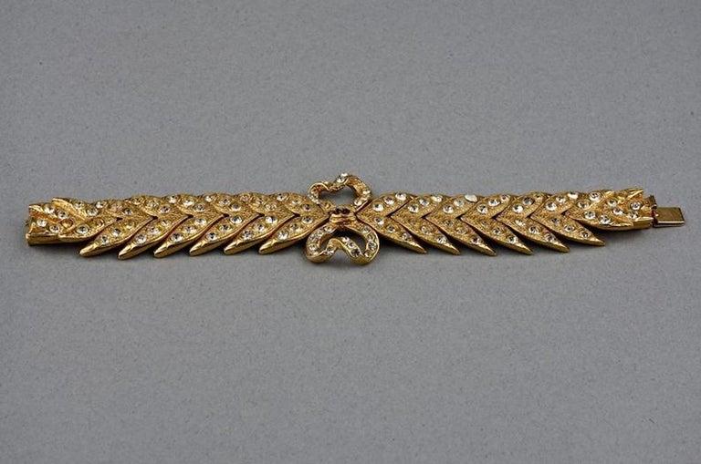 Vintage YVES SAINT LAURENT Ysl Rhinestone Bow Leaf Bracelet For Sale 2