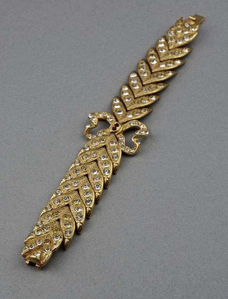 Vintage YVES SAINT LAURENT Ysl Rhinestone Bow Leaf Bracelet For Sale 3