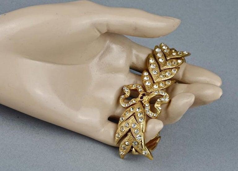 Vintage YVES SAINT LAURENT Ysl Rhinestone Bow Leaf Bracelet For Sale 5