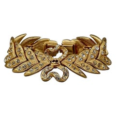 Vintage YVES SAINT LAURENT Ysl Rhinestone Bow Leaf Bracelet
