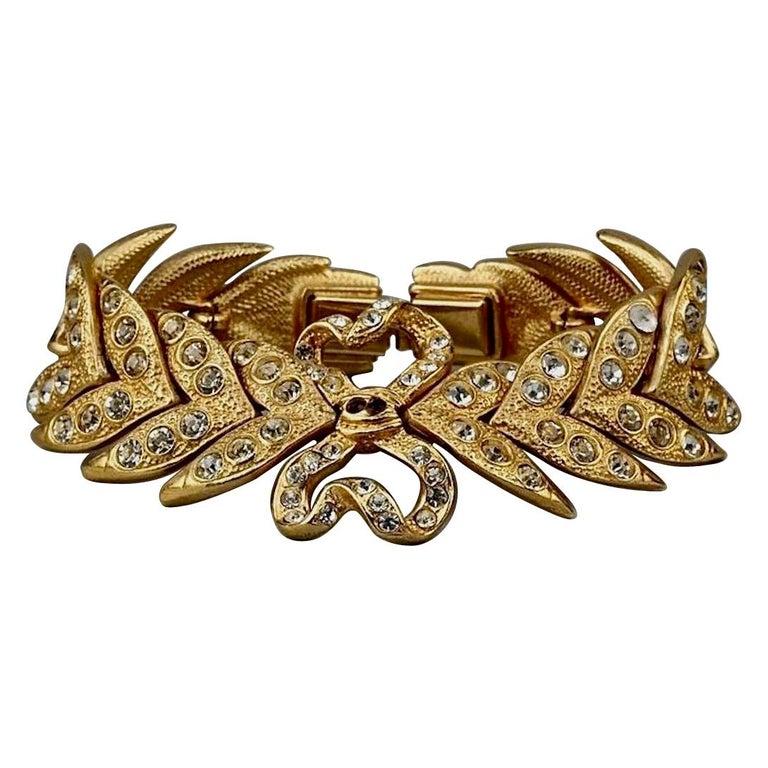 Vintage YVES SAINT LAURENT Ysl Rhinestone Bow Leaf Bracelet For Sale
