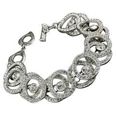Vintage YVES SAINT LAURENT Ysl Rhinestone Hoop Chain Bracelet