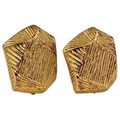 Vintage YVES SAINT LAURENT Ysl Ribbed Hexagonal Earrings