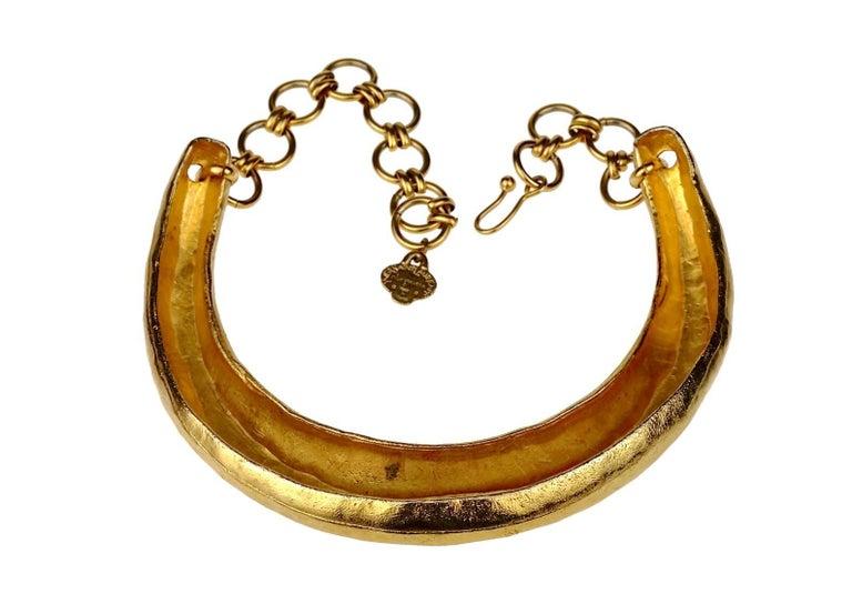 Vintage YVES SAINT LAURENT Ysl Rigid Choker Necklace For Sale 2