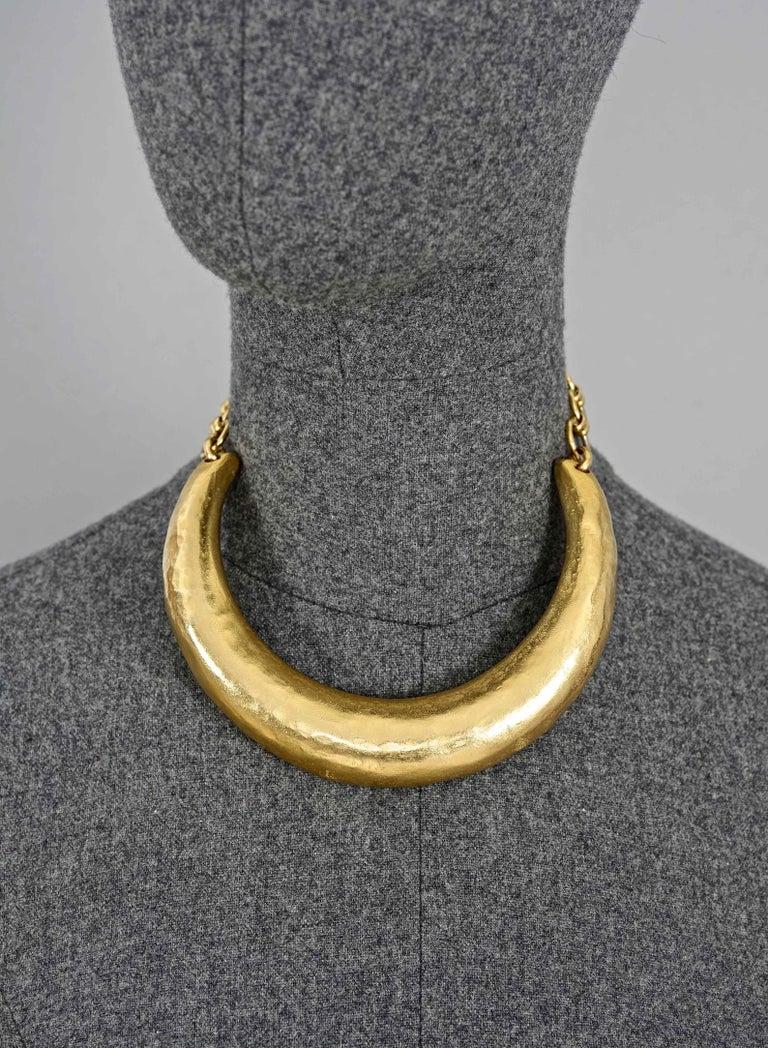 Vintage YVES SAINT LAURENT Ysl Rigid Choker Necklace For Sale 3