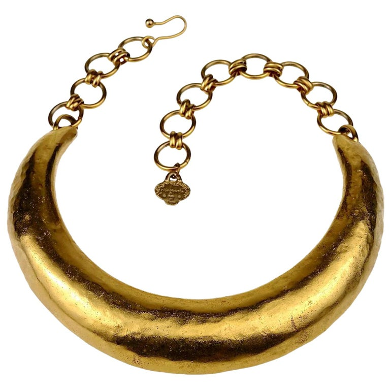 Vintage YVES SAINT LAURENT Ysl Rigid Choker Necklace For Sale