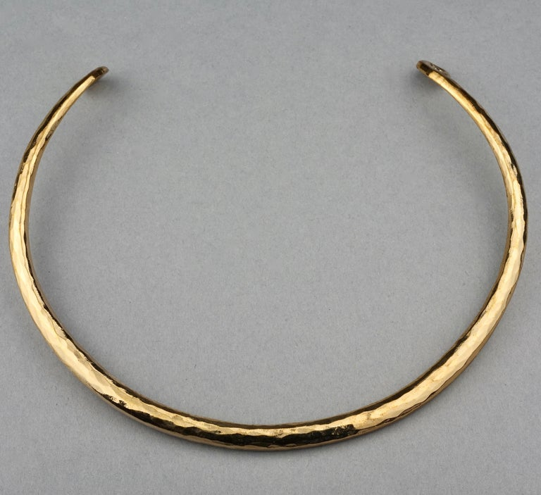 Vintage YVES SAINT LAURENT Ysl Rigid Spiral Choker Necklace 4