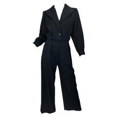 Vintage Yves Saint Laurent YSL Rive Gauche Black Long Sleeve Tuxedo Jumpsuit
