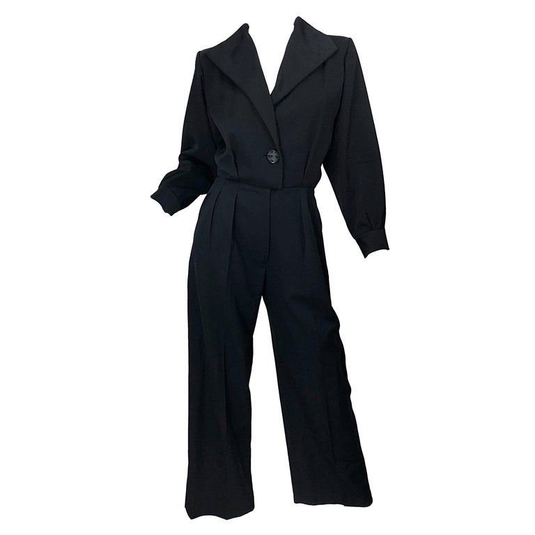 Rive Gauche black long-sleeved tuxedo jumpsuit, late 20th century, offered by Brent Amerman