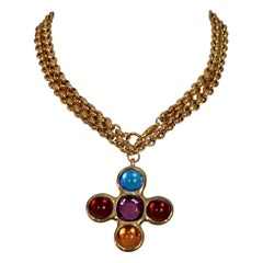 Vintage YVES SAINT LAURENT Ysl Robert Goossens Jewelled Cross Pendant Necklace