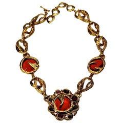 Vintage YVES SAINT LAURENT Ysl Robert Goossens Ruby Rhinestone Flower Necklace